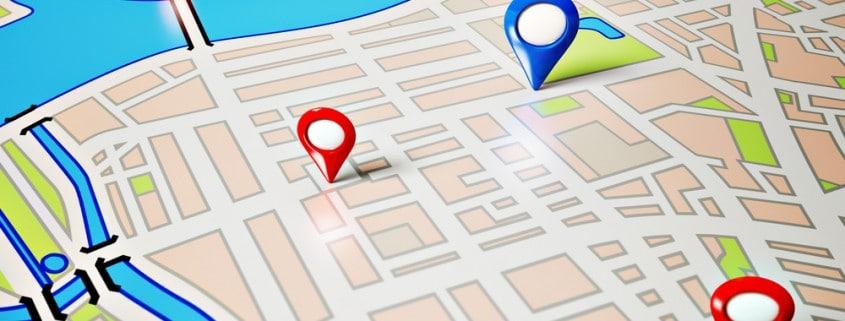 תמונה של מפה עם אייקונים על המפה
