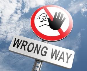 הדרך הלא נכונה באנגלית -wrong way