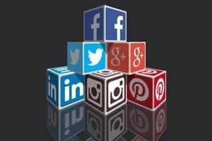 קוביות סמלי הרשתות החברתיות במרשתת